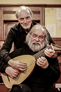 Mike Ashley & Chris Susans playing the same lute with Lachrimae Consort at Clarendon Park Congregational Church in the Leicester Early Music Festival, UK